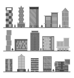 cartoon silhouette black buildings icons set vector image
