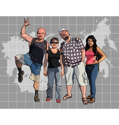 cartoon tourists on the background of a map vector image