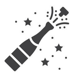 Champagne bottle pop glyph icon new year vector