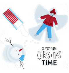 Christmas time snow angel vector
