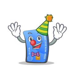 Clown credit card character cartoon vector