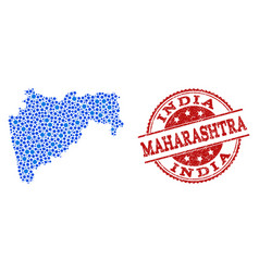 Collage map of maharashtra state with connected vector