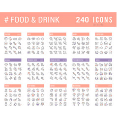 Collection linear icons food and drinks vector