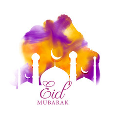 Creative eid greeting with watercolor effect vector