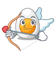 Cupid cartoon boiled egg sliced for breakfast vector