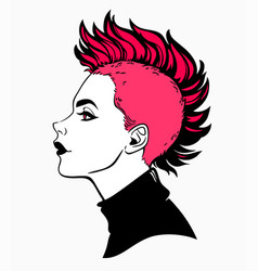 Cute punk girl with mohawk haircut vector