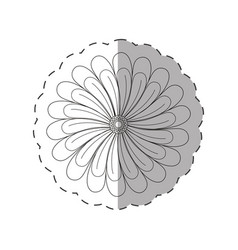 Dahlia flower decoration cut line vector