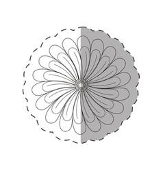 dahlia flower decoration cut line vector image