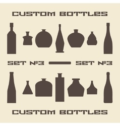 Different bottle types silhouette icon set vector image