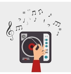 Dj console note clef music vector
