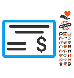 Dollar cheque icon with love bonus vector