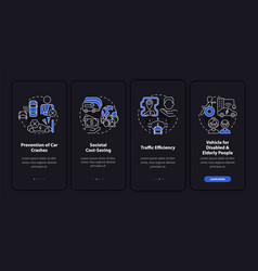 Driverless cars pros onboarding mobile app page vector