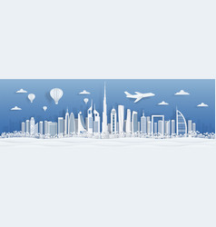 dubai paper cut uae skyline city panorama with vector image