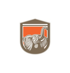 Elephant Head Looking Up Shield Retro vector image