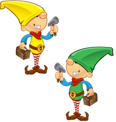 Elf mascot hammer and toolbox vector