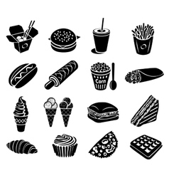 Fast food icons set vector