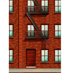 Fire escape on the side of apartment vector image