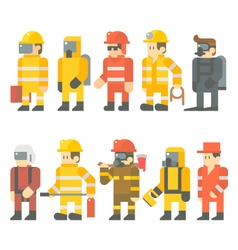 Flat design of rescue worker set vector