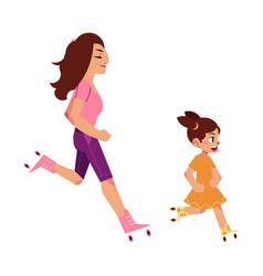 flat girl kid adult woman roller skating vector image