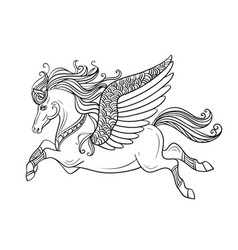 flying pegasus coloring book page vector image