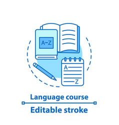 Foreign language courses concept icon vector