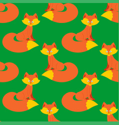 fox pattern cute wild animal background beast vector image