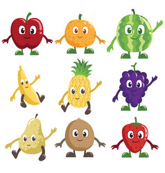 fruits characters vector image
