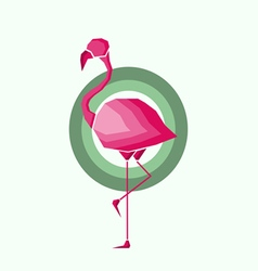 Geometric pink flamingo in outlines vector