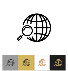 Globe search icon web or internet search symbol vector