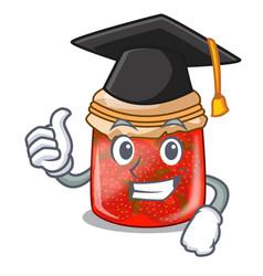 Graduation strawberry marmalade in glass jar of vector