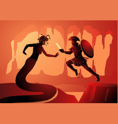 greek mythology perseus fighting medusa vector image