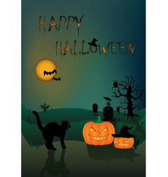 halloween card angry black cat and two pumpkins vector image