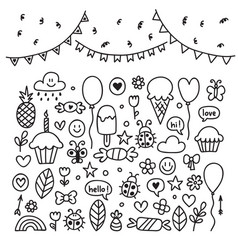 Hand drawn design elements party set of vector