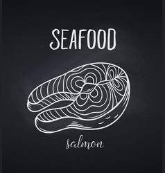 hand drawn salmon steak icon vector image