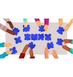hands diverse people with puzzles vector image