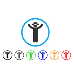 hands up gentleman rounded icon vector image