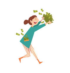 Happy smiling wealthy young woman with lot of vector
