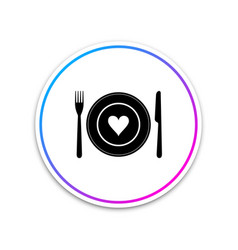 heart on plate fork and knife icon isolated on vector image