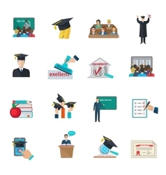 Higher education icons set vector