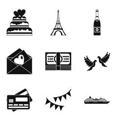 honeymoon trip icons set simple style vector image