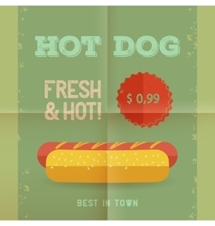 Hot Dog menu vintage poster vector image