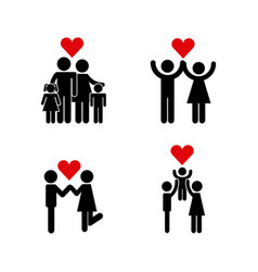 Icons set of couples vector