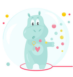 Image a funny hippo with soap bubbles vector