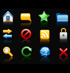 internet black background icon set vector image