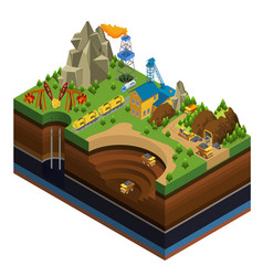 isometric oil and mining industry concept vector image