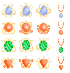 Jewellery woman luxury mockup set realistic style vector