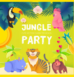Jungle party cute exotic animals design children vector