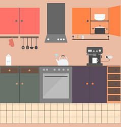 Kitchen interior with furniture appliances vector