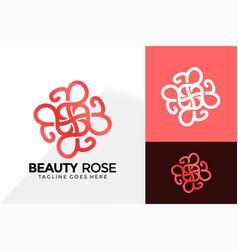 Letter b beauty rose logo design brand identity vector