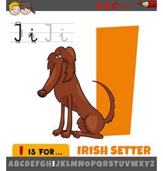 Letter i from alphabet with cartoon irish setter vector